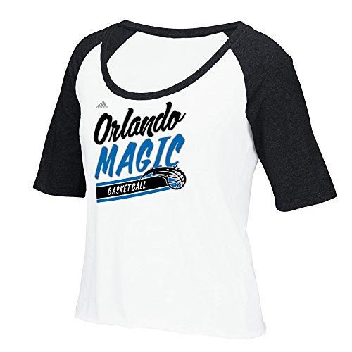 NBA Orlando Magic Women's Stripe Slant Short Sleeve Color Block Tee, X-Large, White