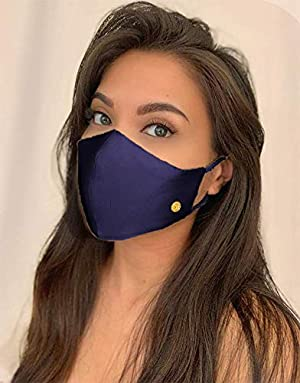 Organic Mulberry Silk Face Mask - Luxurious 100% Silk Masks for Women; Silk Mask with Filter Pocket   Adjustable Nose Wire by THREE PEBBLES (Navy Blue) (Color: Navy Bue, Tamaño: Medium)