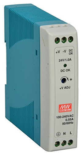 MEAN WELL MDR-20-24 AC to DC DIN-Rail Power Supply, 24V, 1 Amp, 24W, (1 Din Rail)