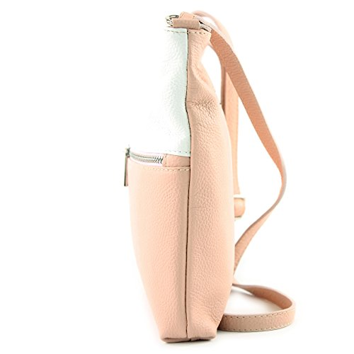 Ladies Shoulder Bag T144 de Bag Leather Rosabeige Modamoda ital Weiß Crossover Bag Leather Shoulder tw0nxXBP