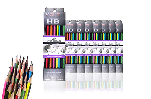 Yalong HB Pencils bulk for kids and adults | Sharpened High- Quality Wooden Pencils with Eraser, assorted color design| Ideal for Students, Kids, Teachers| 8 Packs of 12