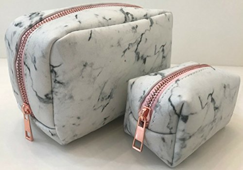 Marble Makeup Bag – 2 piece set white leather Cosmetic bags with metal rose gold zippers By E LUXE