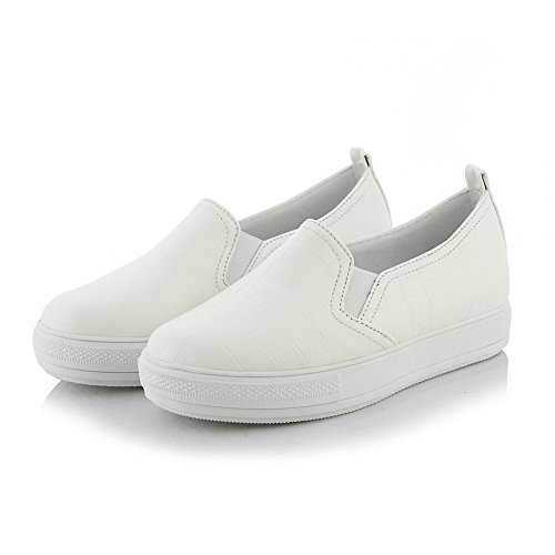 BalaMasa Ladies Platform No-Closure Round-Toe Urethane Walking Shoes White UUXl6CPbxu