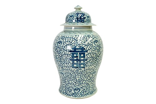 white and blue ginger jar 18 - 5