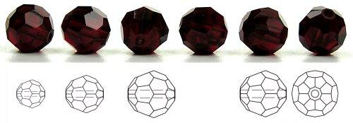 - 8mm Garnet, Czech Machine Cut Round Crystal Beads, 12 pieces