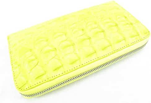 PELGIO Genuine Crocodile Alligator Backbone Skin Zip Around Checkbook Long Wallet