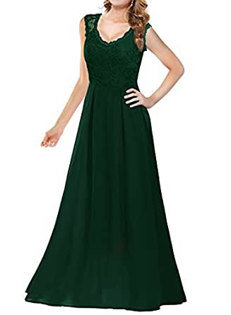 Arolina Women's Formal Long Floral Lace Vintage Wedding Evening Party Dresses (X-Small, Green)