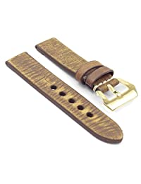StrapsCo EXTRA LONG 22mm Green Thick Distressed Vintage Leather Watch Band w/ Yellow Gold Pre-V Buckle