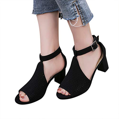d65b702327e91 Women Sandals 2019 ♔ Ladies Square Heel Sandals Fish Mouth Hollow Out  Buckle Roman Shoes