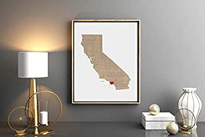 California or ANY STATE Custom Map Art Print - Natural Series wood, burlap, sand Hometown Wall Decor