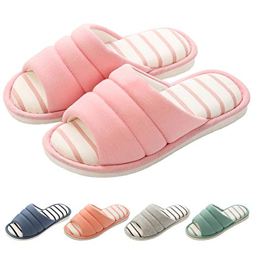 shevalues Women's Memory Foam Slippers Cotton SPA Slippers Winter Warm Open Toe House Slippers Pink 25