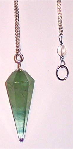 Jet Green Flourite Cone Shaped Pendulum Faceted Top Quality A++ Jet International Crystal Therapy Booklet Healing Meditation Divine Reiki Spiritual Find Lost Objects Person Image is JUST A Reference ()