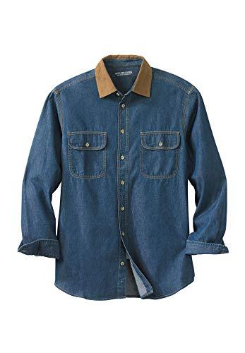 Boulder Creek Men's Big & Tall Long Sleeve Corduroy Collar Renegade Shirt, Stonewash Denim - Long Denim Stonewash Sleeve Shirt