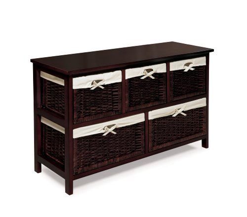 Badger Basket Five Basket Storage Unit with Wicker Baskets, Espresso