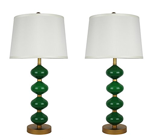 Green Glass Lamp (Urbanest Set of 2 Beautor Table Lamps in Gold and Fern Green Glass with Cream Silk Shades)