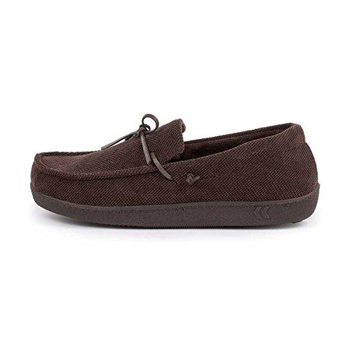 Para hombre Isotoner Pillowstep Cable tipo Mocasín Zapatillas marrón