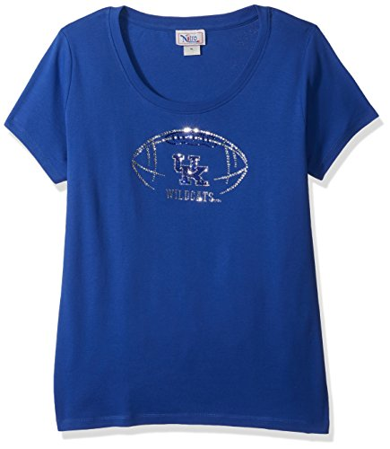 Nitro USA NCAA Kentucky Wildcats Women's Rhinestone UK Football-Jewel Neck Short Sleeve Top, 2X, Royal]()
