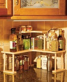 2 Tiered Corner Shelf All Wood Kitchen Storage