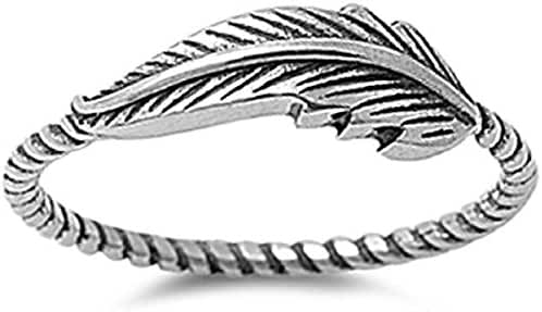 Sterling Silver Sideway Feather Ring (Sizes 3-15)