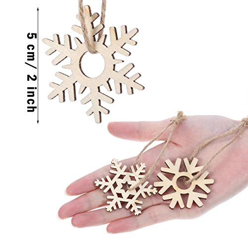 Hestya 50 Pieces Wooden Snowflake For Diy Wood Crafts Christmas Tree