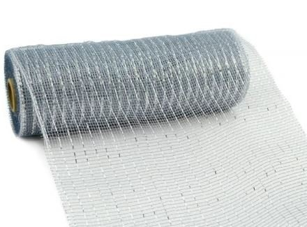 10 inch x 30 feet Deco Poly Mesh Ribbon - Metallic Silver: RE130126 (Silver And Blue Christmas Tree Decorating Ideas)