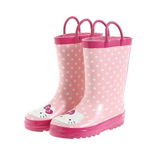 Kids Girls Hello Kitty Printed Waterproof Easy-On Rubber Rain Boots (Toddler/Little Kid) (11M US Little - U Fit Wellington