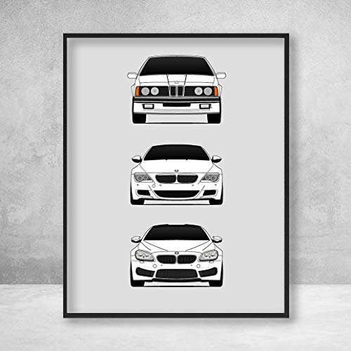 BMW M6 Poster Print Wall Art of the History and Evolution of the M6 Generations (BMW Car Models: E24, E63 E64, F12 F13)