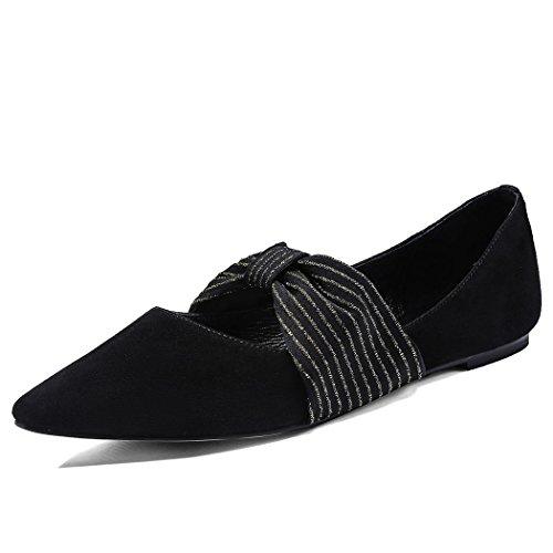 de Carrera de Zapatos del Trabajo Salvaje Zapatos Estrecha Mujer Punta GAOLIXIA de la Manera Plano Casuales Negro Ocasionales Arco Bombas de Zapatos de Zapatos ZqxRaazFw