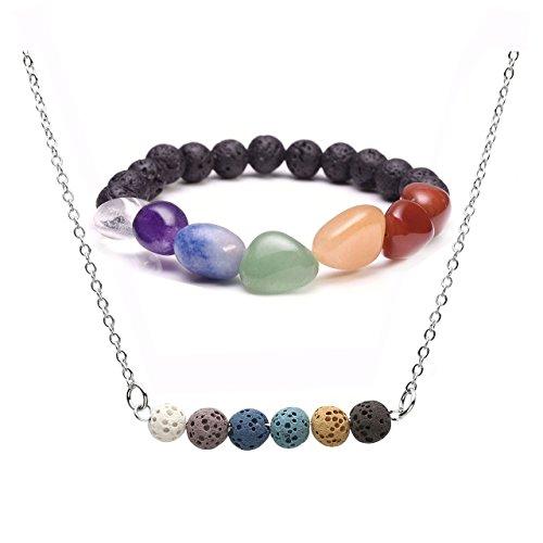 (JOVIVI Lava Stone Aromatherapy Essential Oil Diffuser Necklace & Irregular 7 Chakra Tumbled Gemstones Stretch Bracelet Jewelry Set)