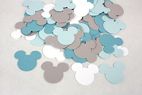 100 Blue Grey & White Mickey Confetti, Paper Mickey Mouse Birthday Party and Baby Shower (Baby Mickey Mouse Baby Shower)