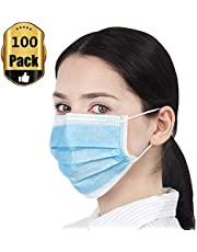 Yamde 100 Pcs Disposable Face Masks Dental Surgical People Allergies The Flu Bacteria Germ Pollen Dust Pet Dander Smoke Filter Mask