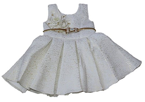 c98348aed030 Krivi Kids Party Wear Plated Frock Dress with Belt for 1-2 Years ...