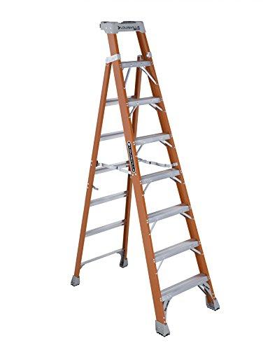 Louisville Ladder FXS1508 Fiberglass Step/Shelf Ladder with 300-Pound Duty Rating, 8 Foot, Orange