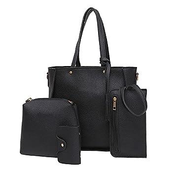 4 pcs/set mujeres piel sintética a la Moda con flecos bolsas set Satchel + bolso + Tarjeta Bolso + cartera negro: Amazon.es: Hogar