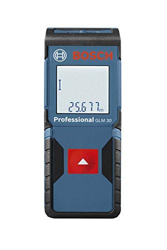 Bosch Professional Laser-Entfernungsmesser GLM 30, 0,15 - 30 m Messbereich, +/- 2 mm Messgenauigkeit, Herstellerzertifikat, Schutztasche, 2 x 1,5-V-LR03 (AAA)