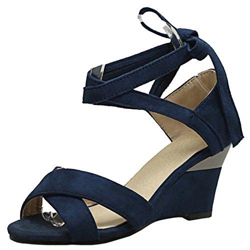 COOLCEPT Mujer Simple Cordones Peep Toe Tacon de Cuna Sandalias Azul