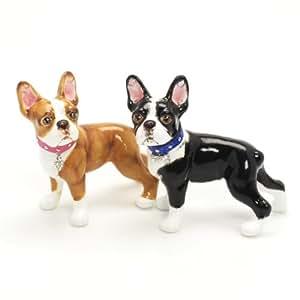 Boston Terrier Dog Ceramic Figurine Salt Pepper Shaker 00001 Ceramic Handmade Dog Lover Gift Collectible Home Decor Art and Crafts