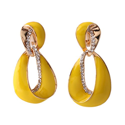 (Grace Jun Large Gold Plated Rhinestone Enamel Clip on Earrings Non Piercing for Women Statement Earrings)