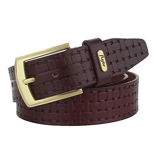 Flyer Men's Leather belt (Formal/Casual) (Colour -Brown) Buckle Adjustable Size Genuine Leather (BR2129)