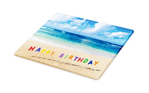 Ambesonne Birthday Cutting Board, Happy Birthday Sign on the Tropical Beach in Hawaii Exotic Sweet Surprise Theme, Decorative Tempered Glass Cutting and Serving Board, Large Size, Multicolor by Ambesonne