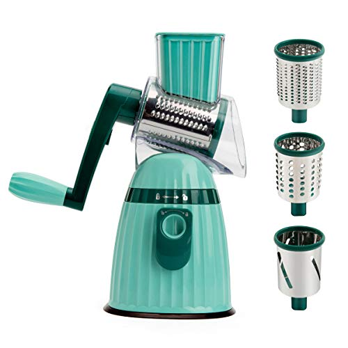 Rotary Cheese Grater,Round Mandoline Vegetable Slicer , 3Pcs Stainless Steel Drum Blades Manual Veggie Chopper Cheese Shredder ,Blackish Green