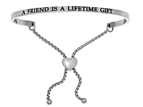 Intuition Stainless Steel a Friend Is a Lifetime Gift adjustable Friendship Bracelet