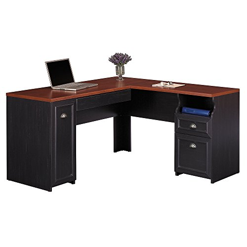Bush Furniture Fairview L Shaped Desk in Antique Black by Bush Furniture