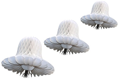 White Honeycomb Tissue Bell Decorations, Set of 3 (15 inch, 11 inch, 9 inch)