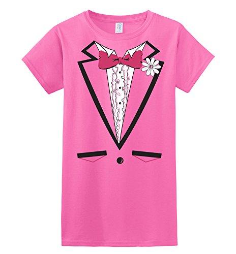 DirtyRagz Womens Ladies Juniors Pink Tuxedo T Shirt L Hot - Tuxedo Juniors T-shirt