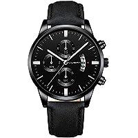VEZARON Stainless Steel Leather Band Quartz Analog Wrist Men's Watch