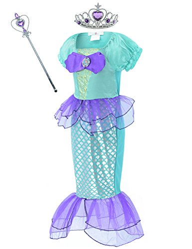 Little Mermaid Costume Ariel Dress Up for Little Girls Party Costume with Crown Mace