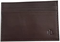 Lauren Ralph Lauren Men's Leather Card Case Wallet Money Clip Brown