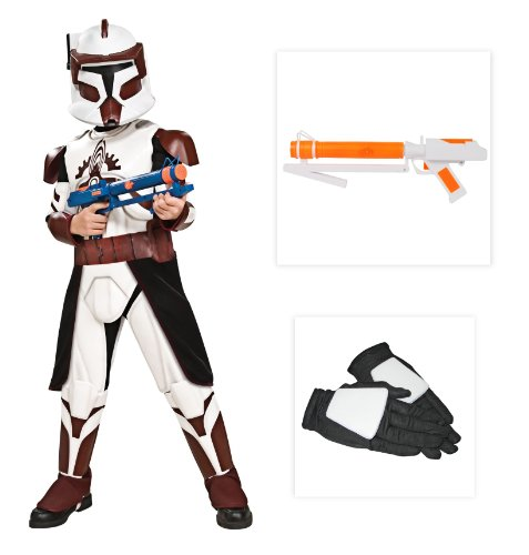 Star Wars Clone Wars Commander Fox Child Costume with Gloves & Blaster (Medium)