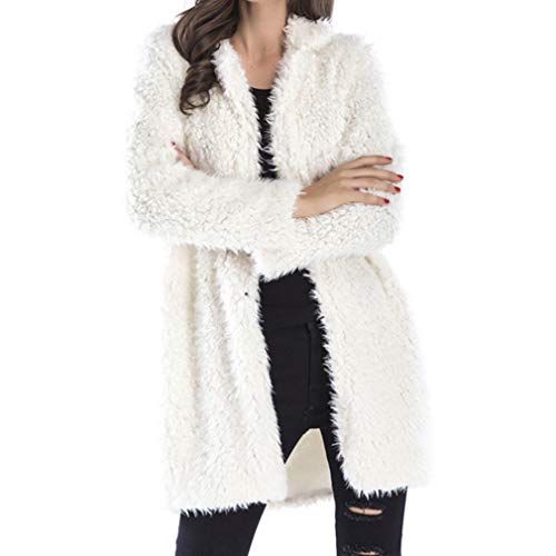 Coat Warm Knitted Solid Cardigan Loose Sleeve Yying Donna Long Beige Outwear qxwOPP48